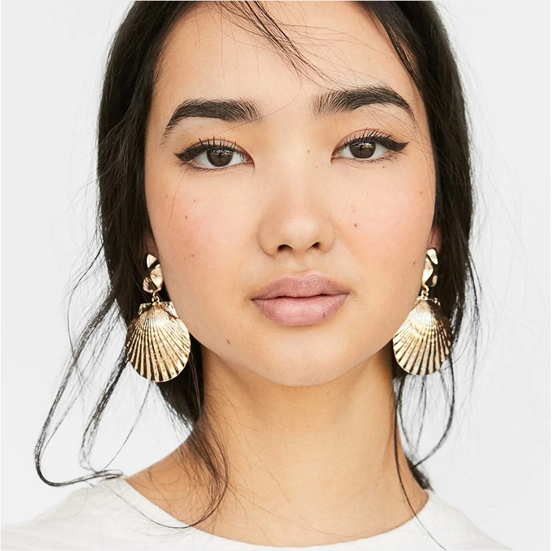 Shell Metal Maxi Drop Earrings Women Beach Spring Summer Statement Earring Boho - Disney Voguette