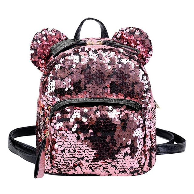 Womens Cute Sequins Backpacks Ears Mini Glitter Backpack - Disney Voguette