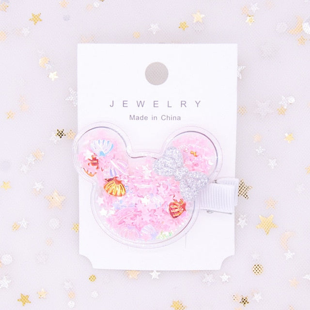 Minnie mouse inspired Transparent Glittter Waterproof Princess Hair Clip - Disney Voguette