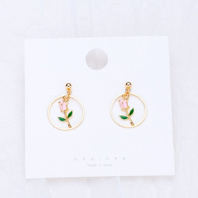 Fashion Earrings Alice in wonderland cute & Beautys Belle rose - Disney Voguette