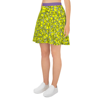 """Faced"" Skater Skirt"