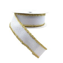 Cross Royal Burlap White Ribbon With Gold Tinsel
