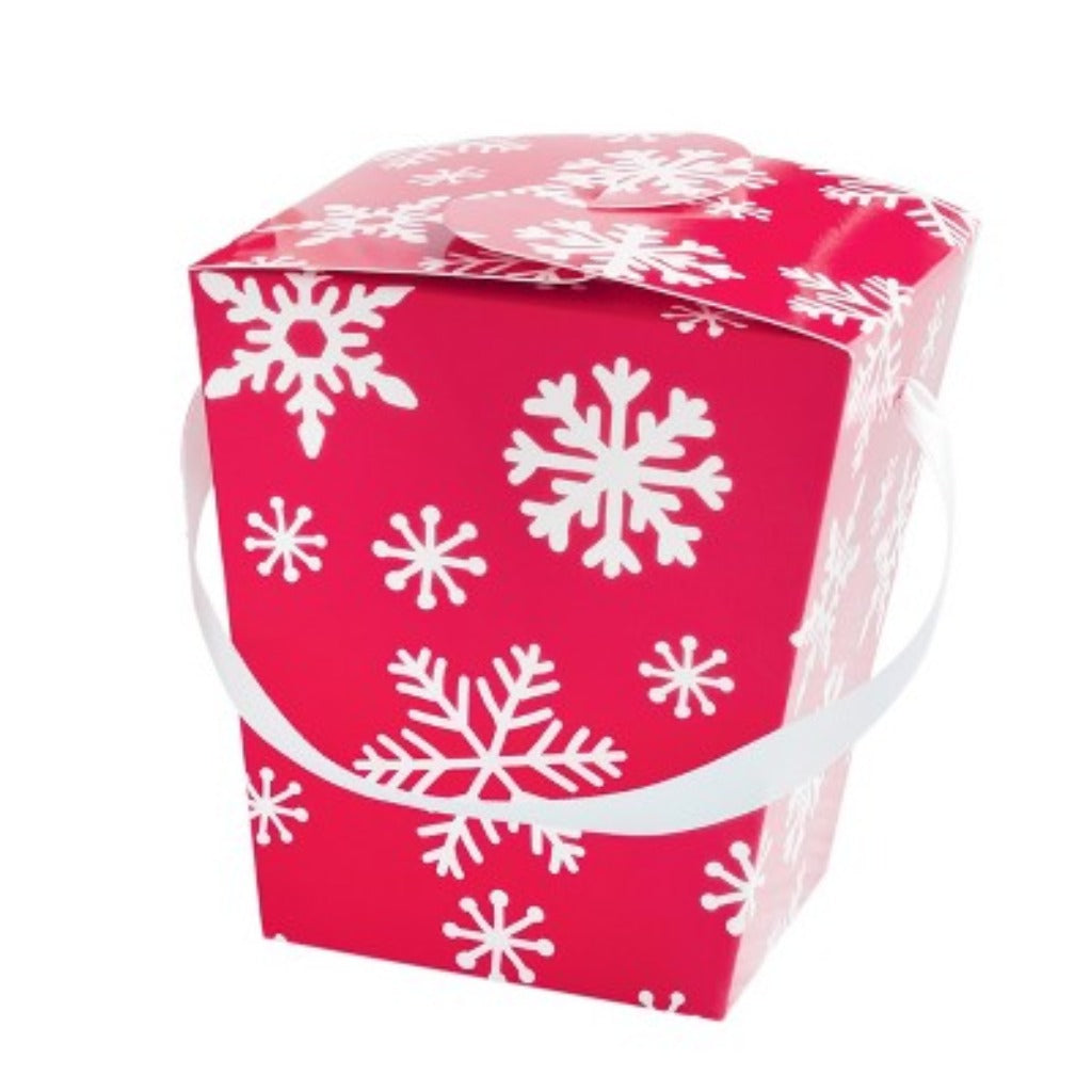 5 Count Takeout Boxes Red With White Snowflakes