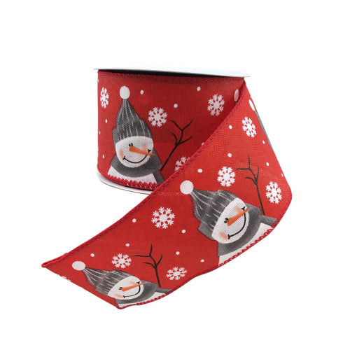 Red Linen Ribbon With Snowman