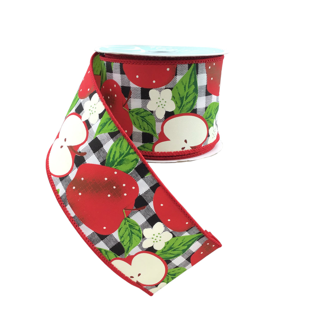 Apple Ribbon With Black And Whtie Checks