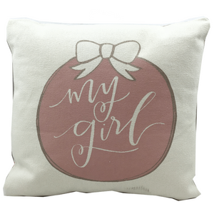 "10"" Square Ivory & Pink ""My Girl"" Decorative Pillow"