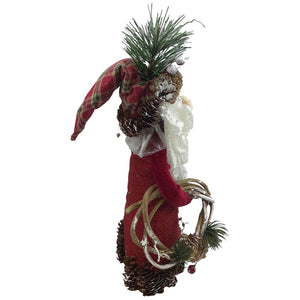 Standing 10 Inch Santa With Pinecone Decor