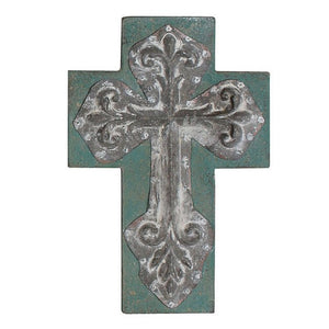 "11"" Vintage Wooden and Tin Cross - Four Styles"