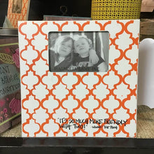 "12"" Orange and White Damask Picture Frame"