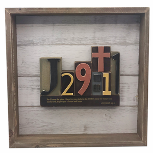 "12"" Square Wooden Bible Verse Wall Art - Jeremiah 29:11"