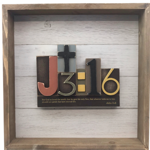 "12"" Square Wooden Bible Verse Wall Art - John 3:16"