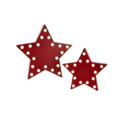 Set of 2 Lit Marquee Stars