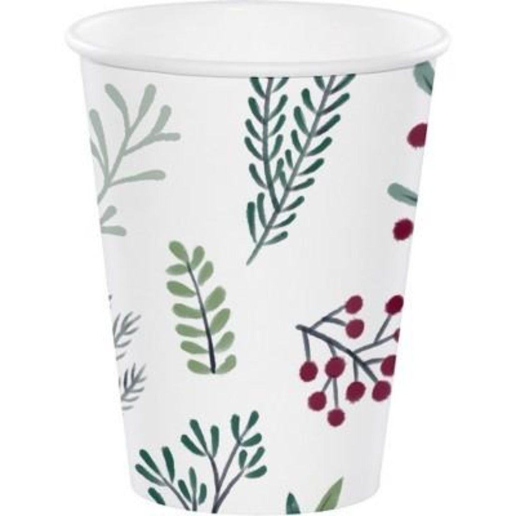 12 Count Conservatory Paper Cups Leaf/Berry Design