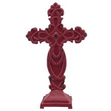 "13"" Antique Metal Sitting Cross - Red or Blue"