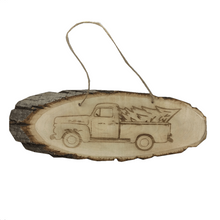 "13"" Basswood Slab Pickup Truck Christmas Tree Ornament"