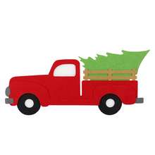 "13.5"" Felt  Red Truck with Tree Large Ornament"
