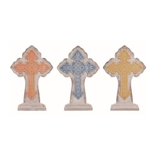 "14"" Large Metal/Wood Layered Colorful Sitting Crosses"