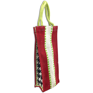 "14"" x 6"" Christmas Canvas Jute Wine Bag - Red With Lime Dots"