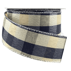 "1.5"" x 10 YDS Check Plaid Ribbon - Cream & Navy"