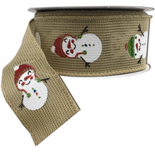 "1.5"" x 10 YDS Faux Burlap Ribbon with Snowman Glitter Print"