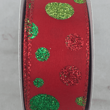 "1.5"" x 10 YDS Red Ribbon With Emerald, Lime, and Red Glitter Dots"