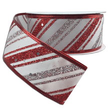 "1.5"" x 10 YDS Red/Silver Diagonal Lines- White Base & Glitter"