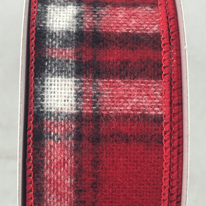 "1.5"" x 10 YDS Woven Plaid Ribbon - Red, Black, White"