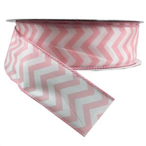 "1.5"" x 25 YDS Chevron Print Ribbon - Smooth Pink w/ White"