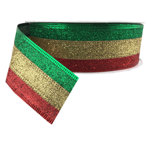 "1.5"" x 25 YDS Tri-Stripe Glitter Ribbon - Red, Gold, Green"