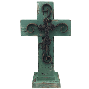 "16"" Distressed Standing Wooden Cross - 3 Colors"