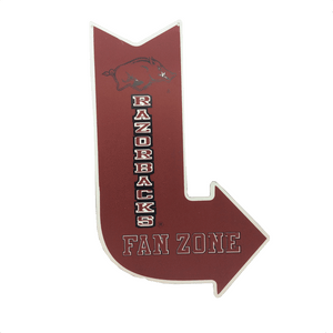 "16"" Razorbacks Fan Zone Metal Arrow Sign"