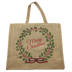 "16"" x 14"" Canvas Jute Bag w/ Multicolor Christmas Print"