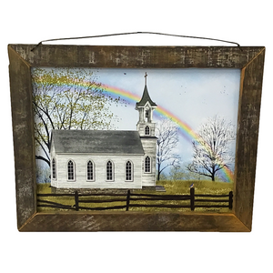"17"" x 13"" Vintage Church ""Somewhere"" Wall Art"