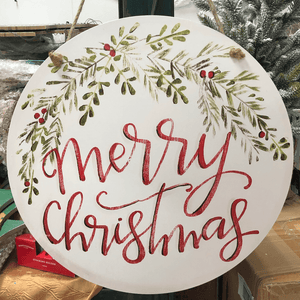 "17.75"" Wooden Merry Christmas Door Sign"