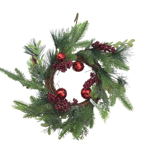 Berry, Pine, and Jingle Bells Wreath- 18 Inch