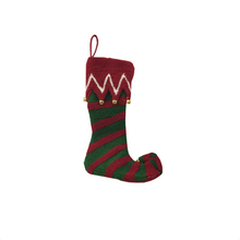 "19"" Christmas Elf Stocking With Bells - 2 Styles"