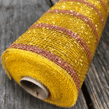 "20"" x 10 YDS Designer Netting - Gold with Pink Stripes"