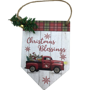 5.75 Inch Wood Tag Ornament with Cardinal or Truck