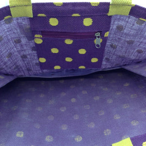 "21"" x 14"" Purple w/ Yellow Polka Dots Canvas Jute Bag"