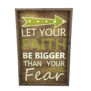 "22"" Wooden ""Let Your Faith"" Sign with LED Lights"