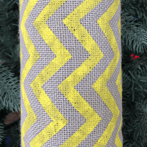 "22"" x 10 YDS Designer Burlap - Natural Gray With Yellow Pattern"