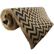 "22"" x 10 YDS Designer Burlap - Natural With Black Pattern"