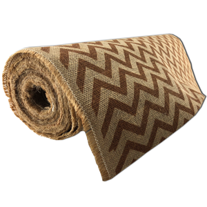 "22"" x 10 YDS Designer Burlap - Natural With Brown Pattern"
