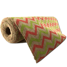 "22"" x 10 YDS Designer Burlap - Natural With Lime/Salmon Pattern"