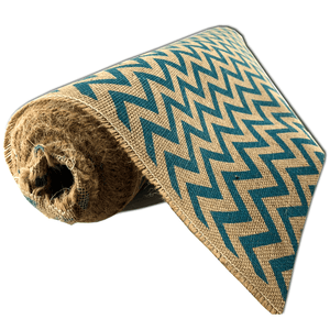 "22"" x 10 YDS Designer Burlap - Natural With Turquoise Pattern"
