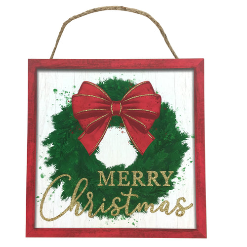 Merry Christmas Wreath Sign 10 Inch Square