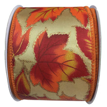 Autumn Leaves Glitter On Satin Ribbon