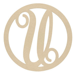 "23"" Wooden Letter Monogram Circle Cutouts - 12 Styles"