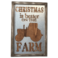 "23.75"" Wood and Galvanized Metal Christmas Farm Wall Art"