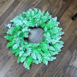 "24"" Flocked Lime Wreath"